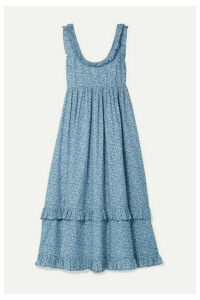 HATCH - The Rafaela Ruffled Floral-print Cotton-jacquard Midi Dress - Blue