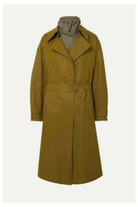 LOW CLASSIC - Belted Layered Cotton-blend Canvas And Shell Trench Coat - Army green