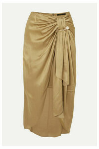 Mother of Pearl - Emma Embellished Ruched Satin Midi Skirt - Gold