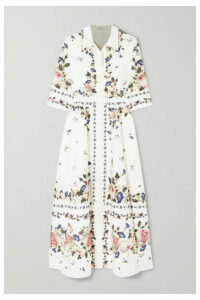Erdem - Kasia Belted Floral-print Cotton-poplin Midi Dress - White