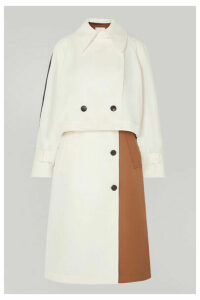 Tibi - Convertible Color-block Twill Trench Coat - Ivory