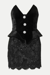 Alessandra Rich - Crystal-embellished Velvet And Sequined Lace Mini Dress - Black