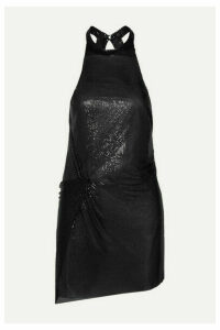 Fannie Schiavoni - Alicia Open-back Chainmail Halterneck Mini Dress - Black