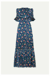 The Vampire's Wife - The Night Flight Tiered Shirred Floral-print Silk-satin Maxi Dress - Navy
