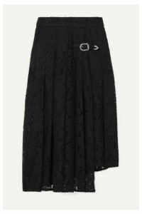 Maje - Jalilo Buckled Asymmetric Pleated Guipure Lace Midi Skirt - Black