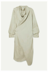 LOW CLASSIC - Draped Satin Wrap Dress - Beige