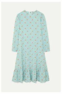 Paul & Joe - Contine Tiered Floral-jacquard Midi Dress - Blue