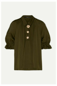 Mother of Pearl - Petra Embellished Ruched Satin Blouse - Army green