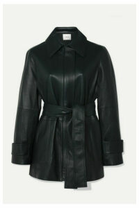 Vince - Belted Leather Coat - Emerald