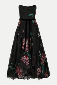 Marchesa Notte - Strapless Velvet-trimmed Embroidered Organza Gown - Black