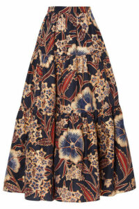 Ulla Johnson - Chantal Tiered Metallic Floral-print Silk Midi Skirt - Midnight blue