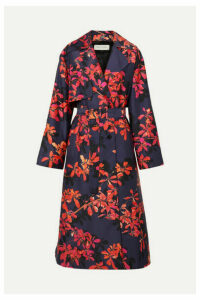 Dries Van Noten - Floral-print Satin-twill Trench Coat - Purple