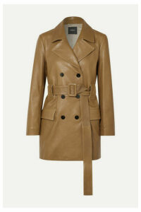 Theory - Belted Double-breasted Leather Coat - Tan
