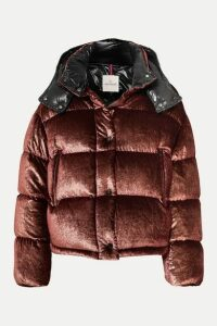 Moncler - Hooded Quilted Metallic Velvet Down Jacket - Burgundy