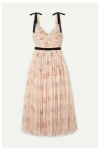 Needle & Thread - Think Of Me Embellished Satin-trimmed Floral-print Tulle Midi Dress - Blush