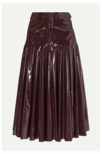 palmer//harding - Fused Fluted Vinyl Midi Skirt - Burgundy