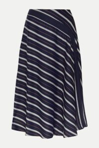 palmer//harding - Radiant Pleated Striped Twill Midi Skirt - Navy