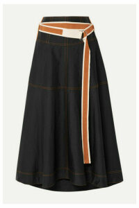 Lee Mathews - Lucien Belted Poplin Midi Skirt - Black
