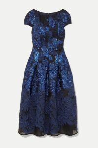 Talbot Runhof - Mikado Pleated Metallic Cloqué And Organza Midi Dress - Blue