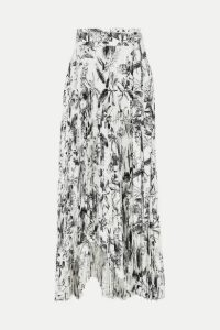 A.W.A.K.E. MODE - Doric Asymmetric Pleated Printed Faille Wrap Skirt - Black
