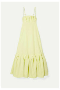 Rosie Assoulin - Cami Gathered Cotton-poplin Midi Dress - Pastel yellow