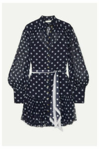 Zimmermann - Sabotage Lantern Polka-dot Silk-crepon Mini Dress - Navy