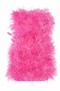 Attico - Strapless Bead And Feather-embellished Cotton Mini Dress - Pink