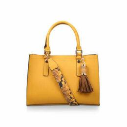 Aldo Zenawien - Mustard Yellow Tote Bag With Detachable Snake Print Strap