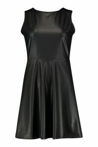 Womens Faux Leather Sleeveless Skater Dress - black - 16, Black