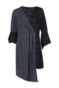 Womens Mixed Print Wrap Front Midi Dress - black - 10, Black