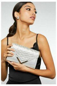 Quiz Silver Jewel Cluster Envelope Bag