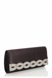 Quiz Black Satin Diamante Twist Bag