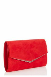 Quiz Red Faux Suede Envelope Bag