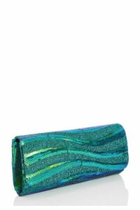 Quiz Green Shimmer Sequin Wave Clutch Bag
