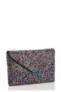 Quiz Multicoloured Diamante Soft Envelope Bag