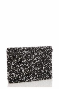 Quiz Black and Silver Diamante Soft Envelope Bag