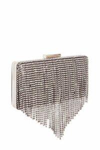 Quiz Black Diamante Fringe Box Bag