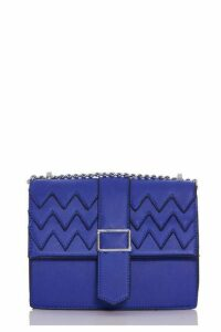 Quiz Blue Zig Zag Cross Over Body Bag