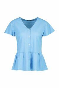 Womens Linen Pep Hem Angel Sleeve Blouse - blue - 12, Blue