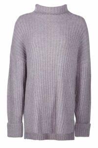 Womens Premium Rib Knit Jumper - grey - S/M, Grey