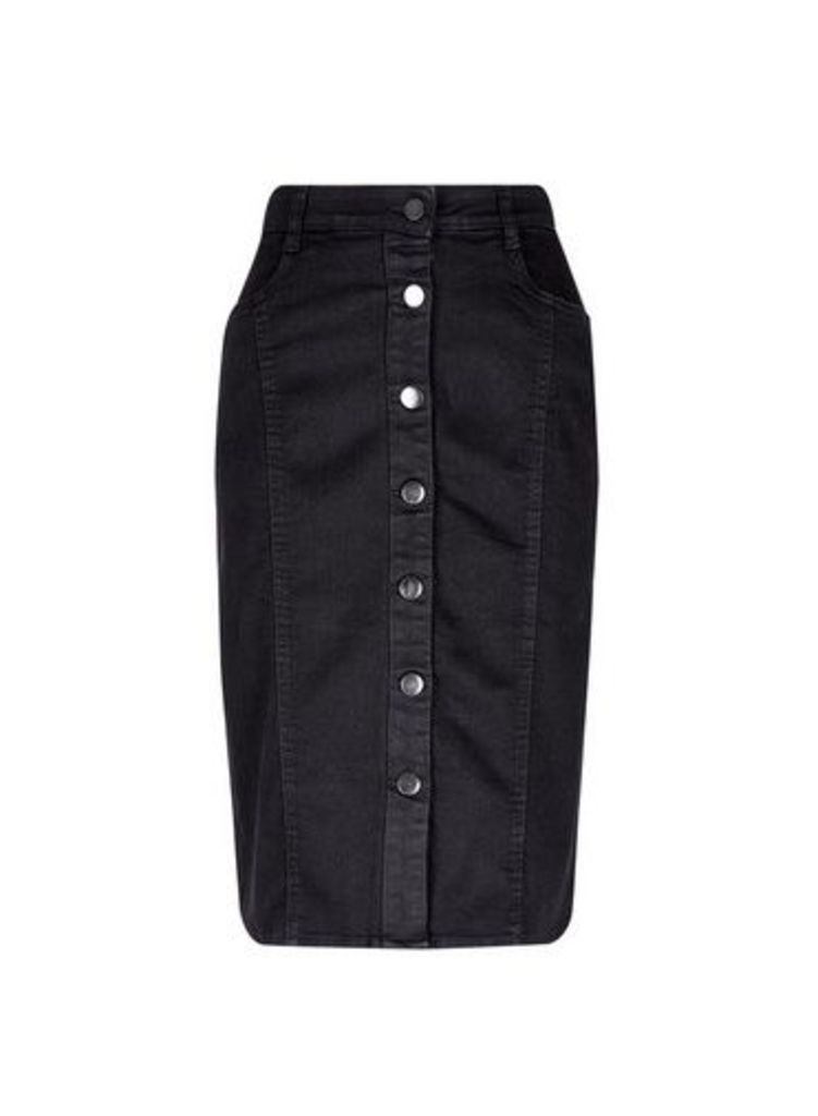 Womens Black Button Midi Skirt- Black, Black