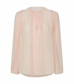 Lace-Trim Silk Chiffon Top