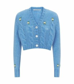 Wool Foral-Embroidered Cropped Cardigan