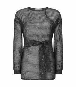 Sequin-Embellished Belted Blouse