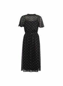 Womens Black Spot Print Belted Fit And Flare Dress- Black, Black