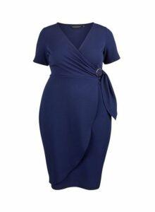 Womens **Dp Curve Navy Wrap Dress- Blue, Blue