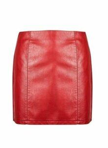 Womens **Dp Curve Dark Red Pu Mini Skirt- Red, Red