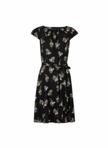 Womens **Billie & Blossom Black Tiger And Floral Print Skater Dress- Black, Black