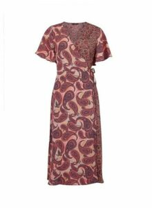 Womens **Only Multi Coloured Mix And Match Paisley Print Wrap Dress- Black, Black