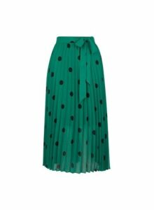 Womens Green Polka Dot Midi Skirt, Green